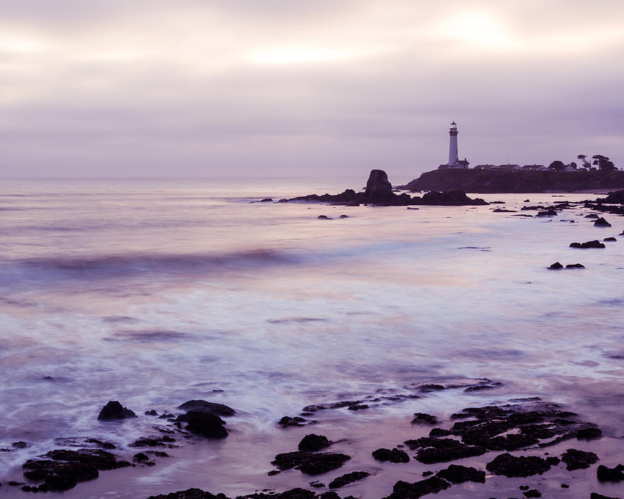 Purple Glow At Pigeon Point Lighthouse Alternate Crop by Priya Ghose