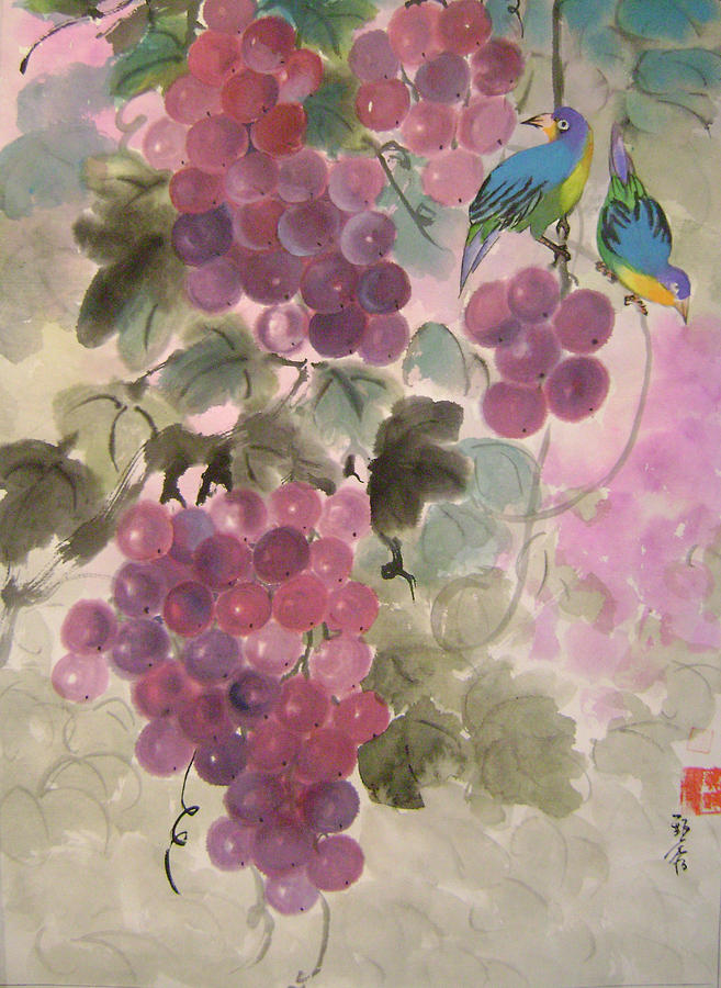 Conceptual Painting - Purple Grapes And Blue Birds by Lian Zhen