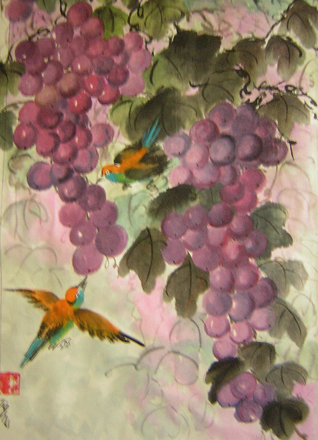Conceptual Painting - Purple Grapes And Yellow Bird by Lian Zhen