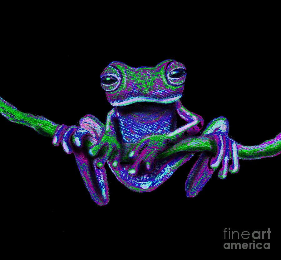 Frog Painting - Purple Green Ghost Frog by Nick Gustafson