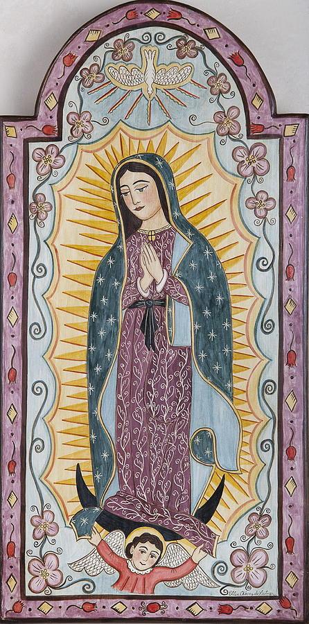 Virgin Of Guadalupe Painting - Purple Guadalupe by Ellen Chavez de Leitner