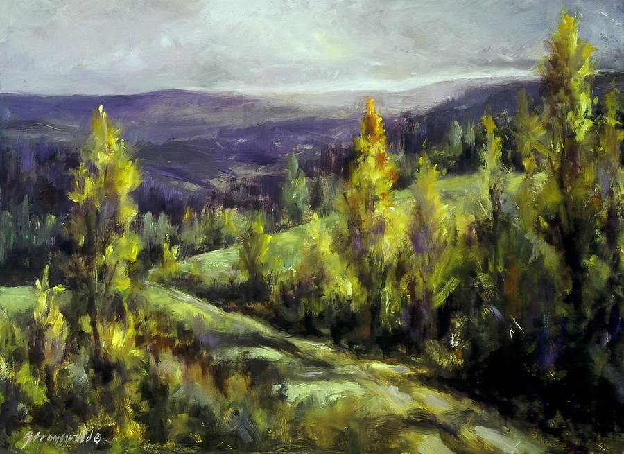 Landscape Mountains Painting - Purple Haze by Ruth Stromswold