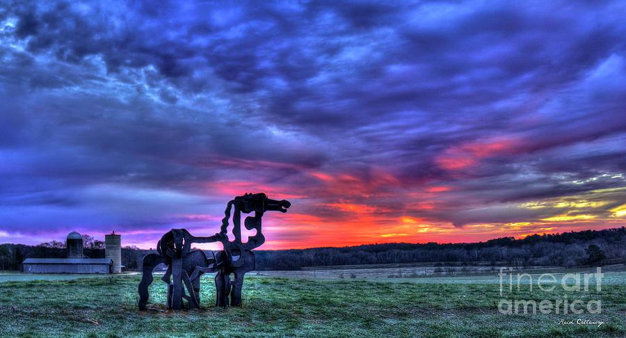 Stormy Sky Photograph - Purple Haze Sunrise The Iron Horse by Reid Callaway