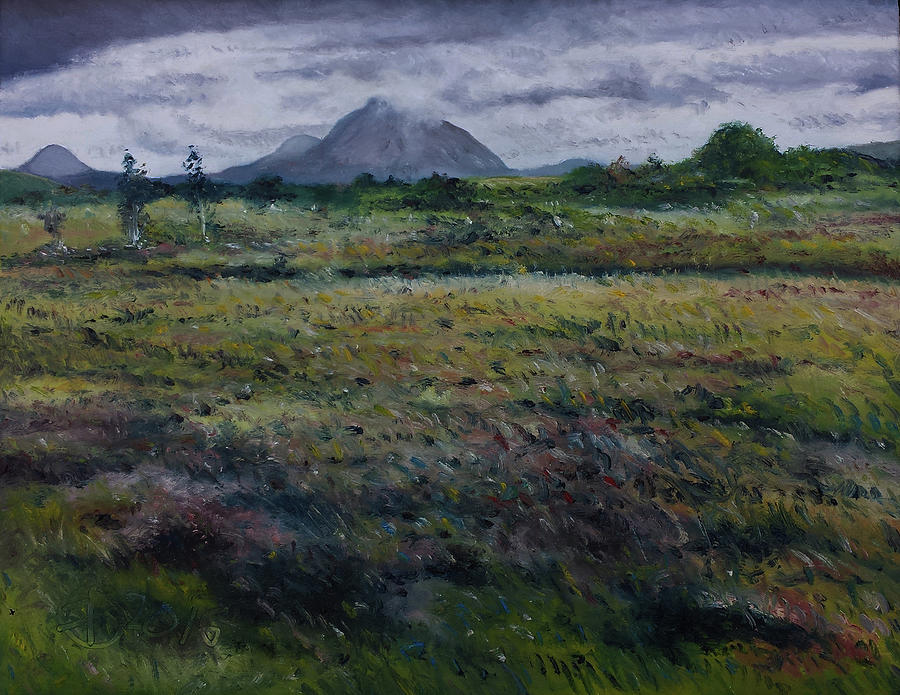 Mount Errigal Painting - Purple Heather And Mount Errigal From Dore Co. Donegal Ireland   by Enver Larney
