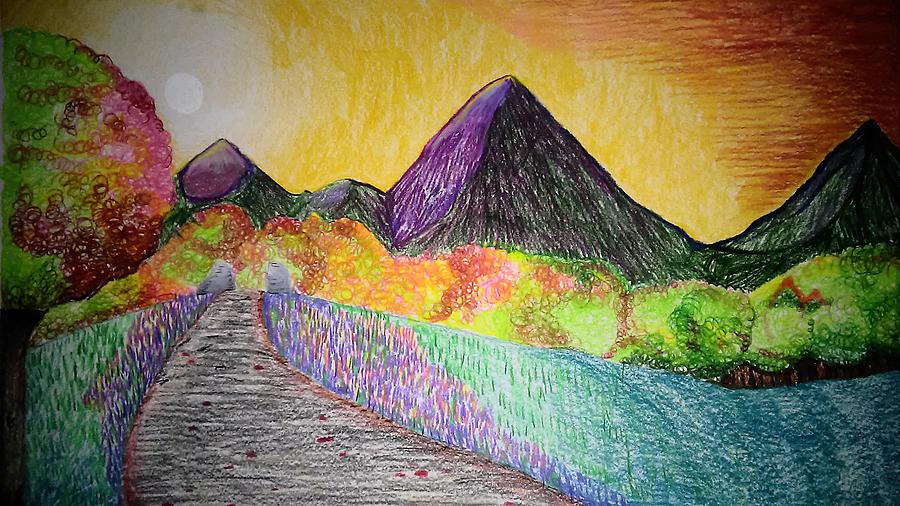 картинки гор как нарисовать цветными днище