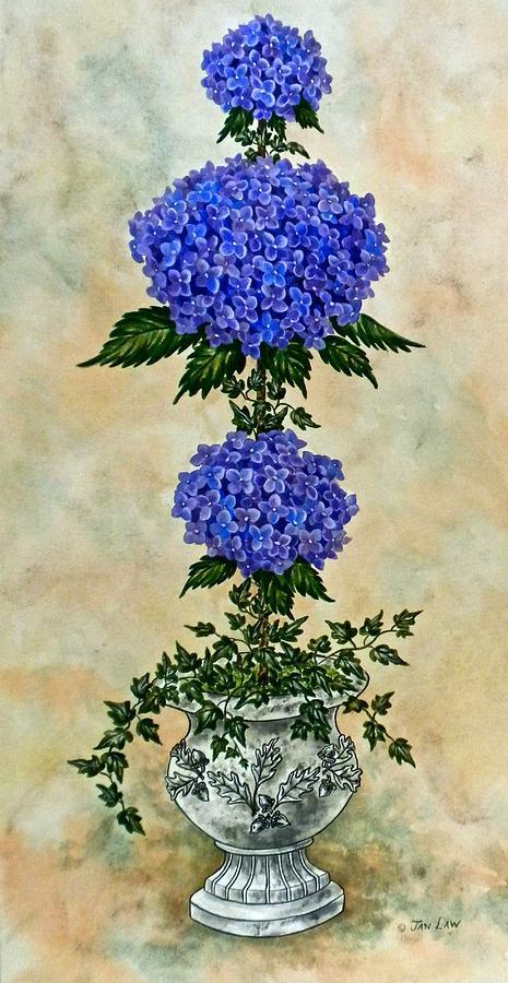 Purple Hydrangea Topiary I by Jan Law