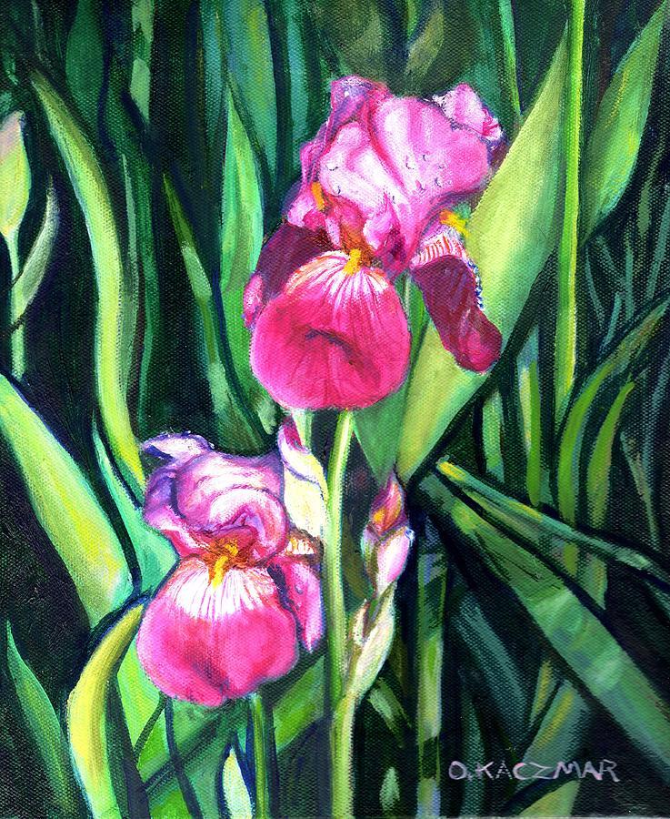 Flowers Painting - Purple Iris by Olga Kaczmar