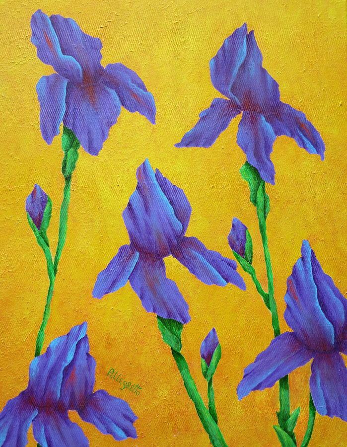 Acrylic Painting - Purple Iris by Pamela Allegretto
