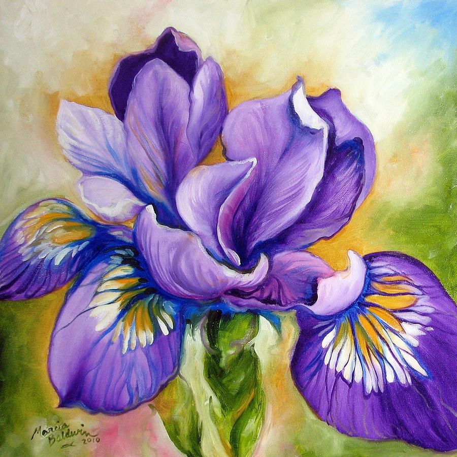 Louisiana iris paintings fine art america louisiana iris painting purple iris wildflower by marcia baldwin izmirmasajfo