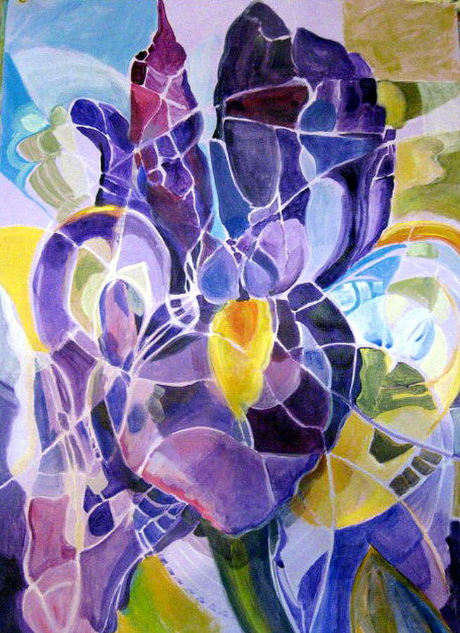 Nature Painting - Purple Irises by Therese AbouNader