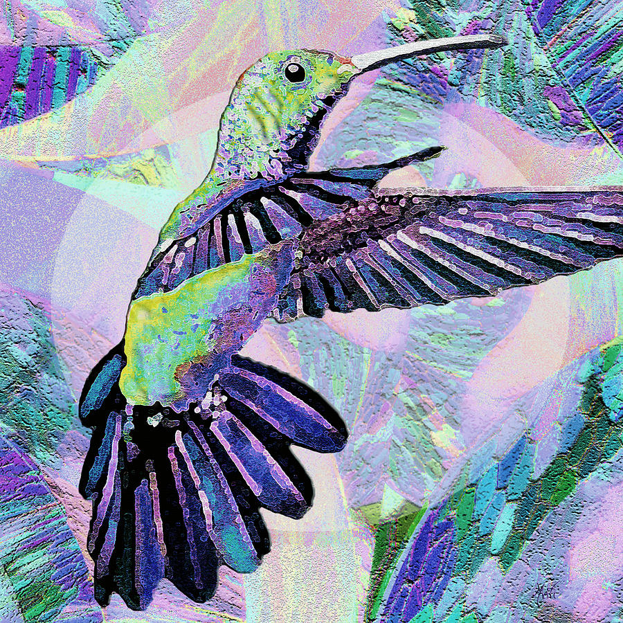 Purple Jewel Hummingbird Mixed Media