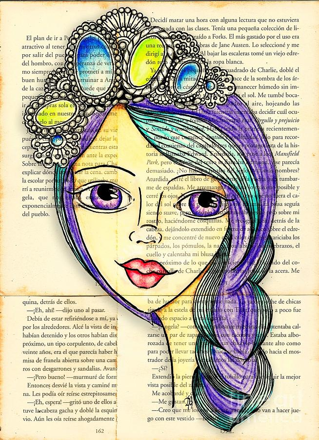 Drawing Drawing - Purple Lady by Delein Padilla