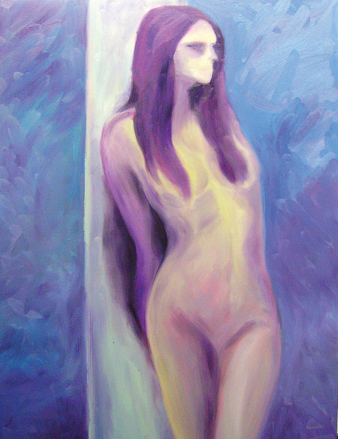 Nude Painting - Purple Lady On Blue by Anne Thouthip