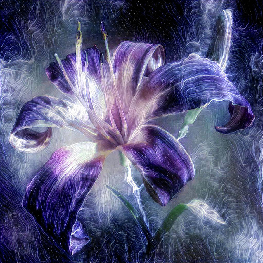 Purple lily flower mixed media by lilia d purple mixed media purple lily flower by lilia d izmirmasajfo