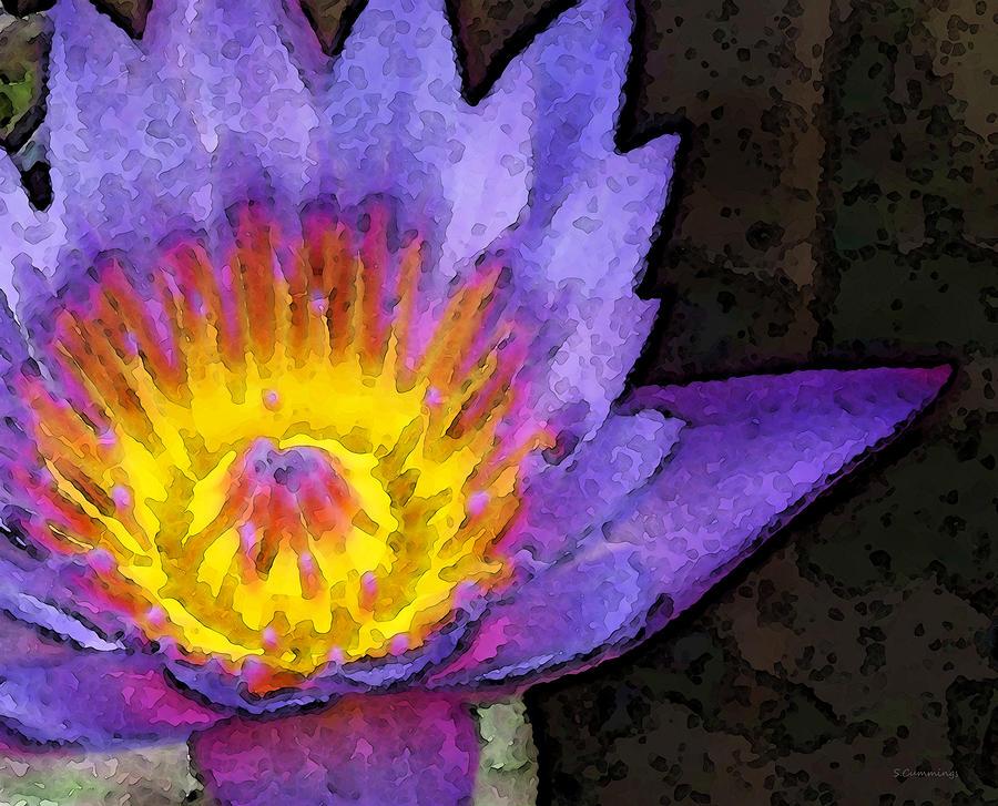 Lotus Painting - Purple Lotus Flower - Zen Art Painting by Sharon Cummings