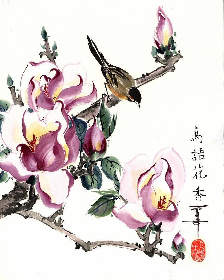 Flowers Painting - Purple Magnolia by Linda Smith