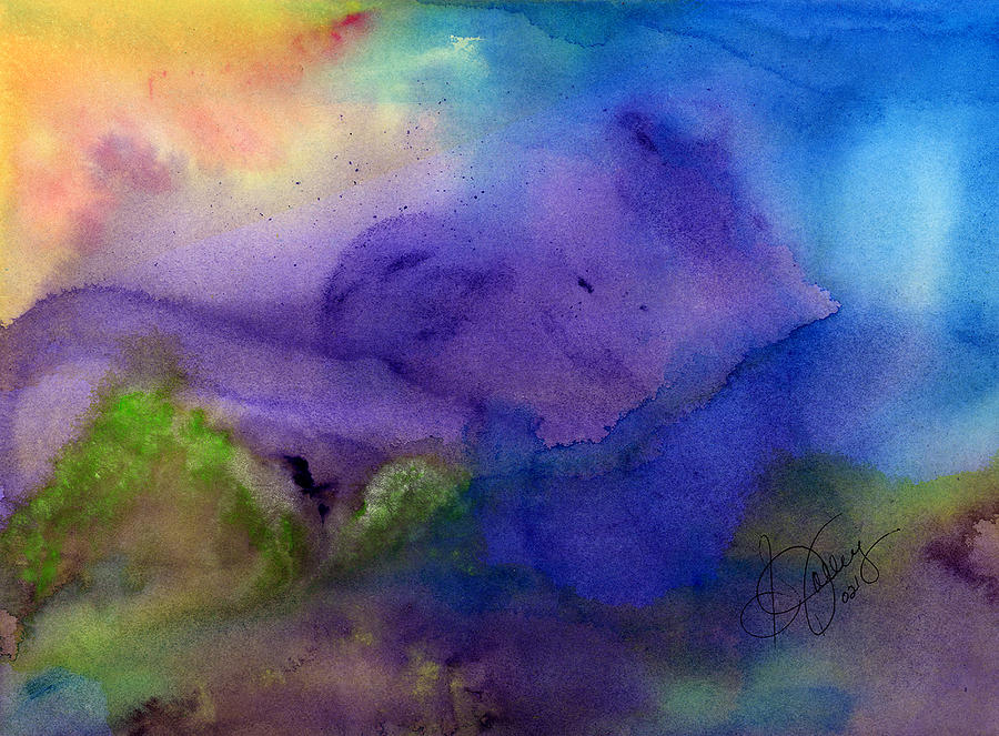 Watercolor Painting - Purple Moon by Stephanie  Jolley