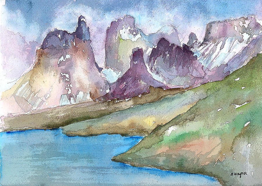 Mountains Mixed Media - Purple Mountains by Arline Wagner
