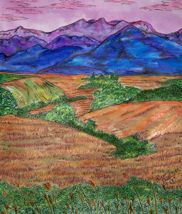 Landscape Painting - Purple Mountains by Denny Phillips