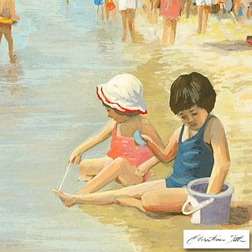 Beach Painting - Purple Pail by Title Christian