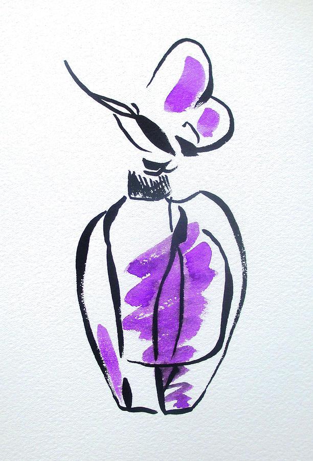 Perfume Painting - Purple Perfume Bottle by Sacha Grossel