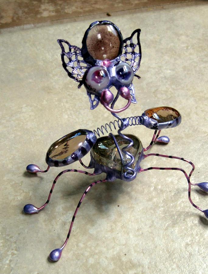 Stain Glass Sculpture - Purple Pink Heart Bug by Maxine Grossman