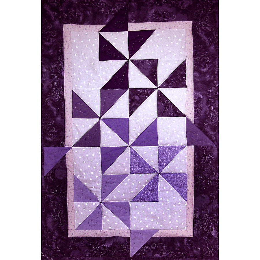 Art Quilt Tapestry - Textile - Purple Pinwheels Pirouetting by Pam Geisel