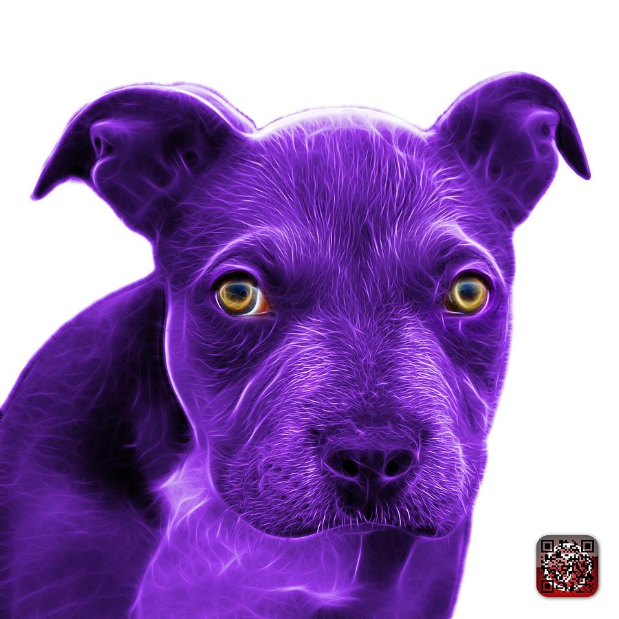 Pitbull Painting - Purple Pitbull Puppy Pop Art - 7085 Wb by James Ahn