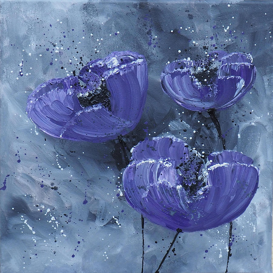 purple poppies painting by go inspire beauty