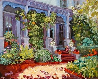 Victorian Painting - Purple Porch And Wisteria by Kathy Busillo