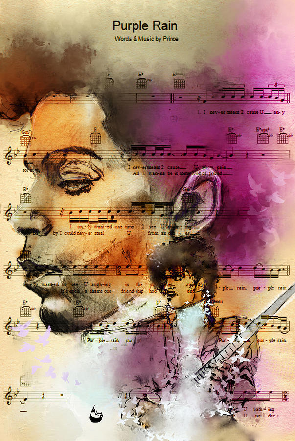 Prince Digital Art - Purple Rain Forever by Howard Barry