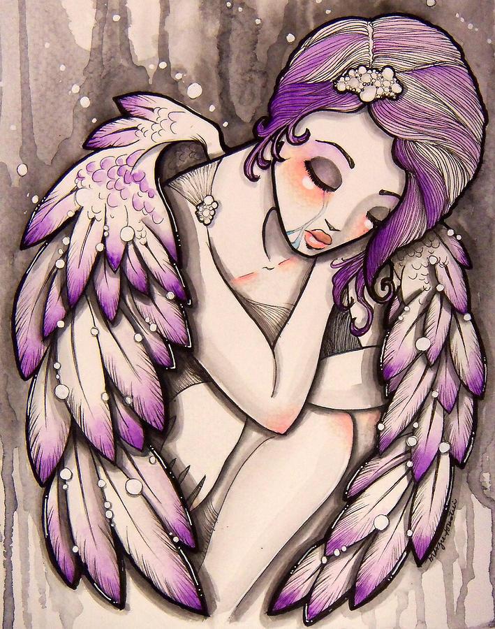 Angel Painting - Purple Rain by Margie Forestier