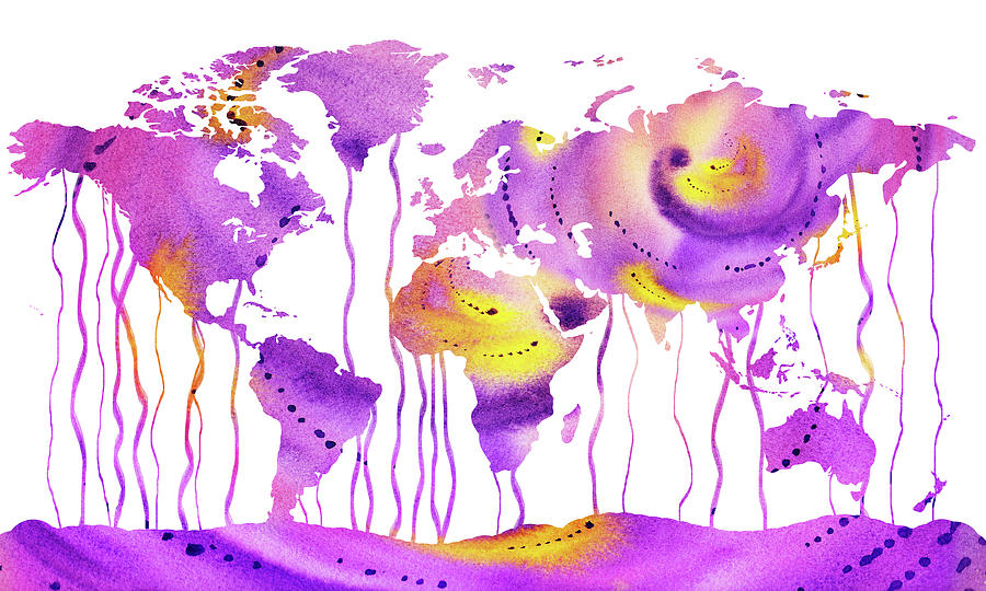 Purple Rain Watercolor Map Of The World Painting by Irina Sztukowski