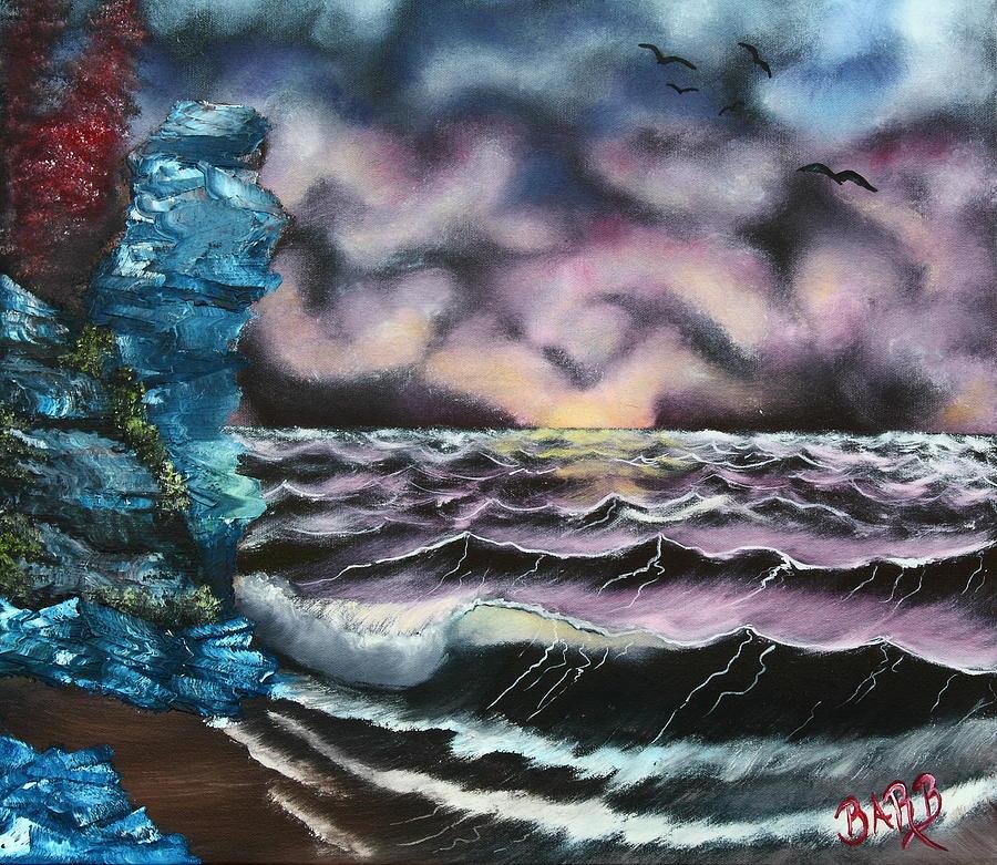 Seascape Painting - Purple Rising by Barbara Teller