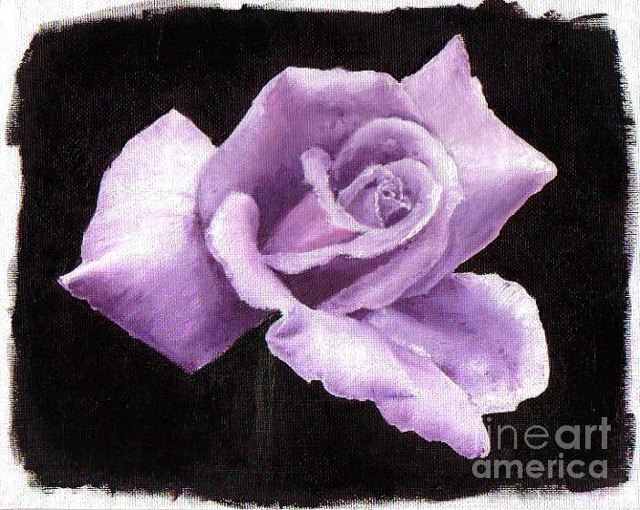 Flower Painting - Purple Rose by Nancy Aldrich