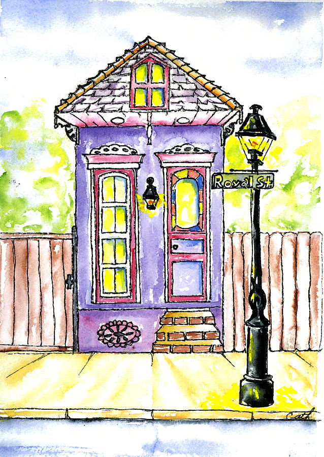 Purple royal street shotgun house painting by catherine wilson for Home painting images
