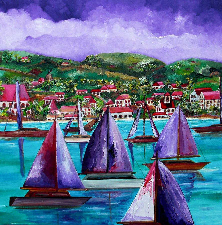 Usvi Painting - Purple Skies Over St. John by Patti Schermerhorn