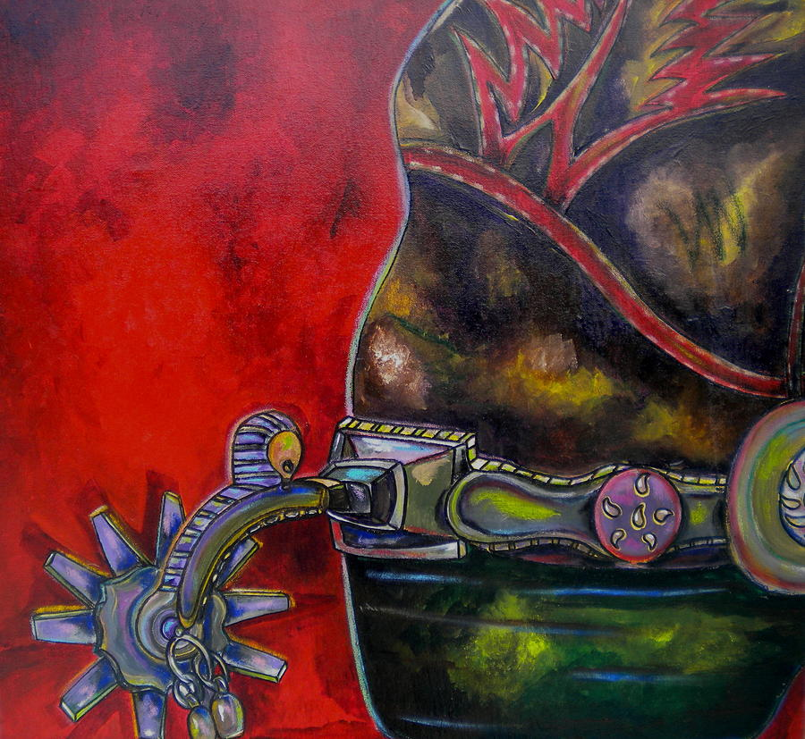 Boot Painting - Purple Spur by Patti Schermerhorn