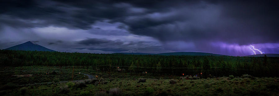 Night Photograph - Purple Strikes by Cat Connor