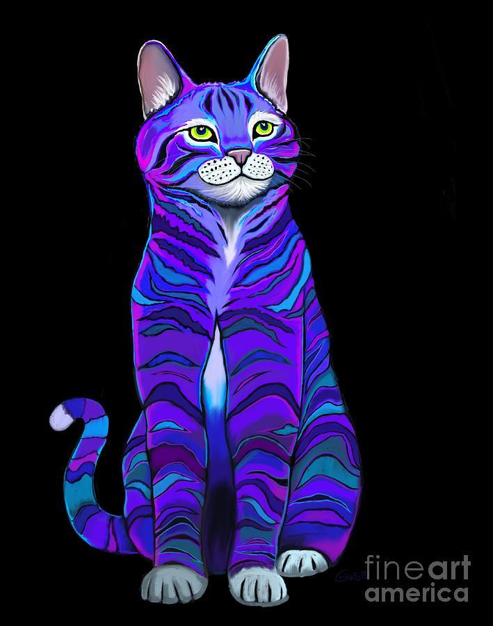 Purple Striped Cat Digital Art