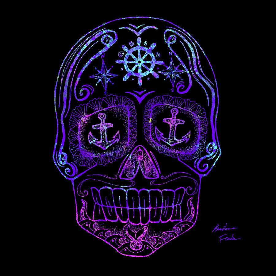 Purple Sugar Skull Drawing by Barbara Fowler