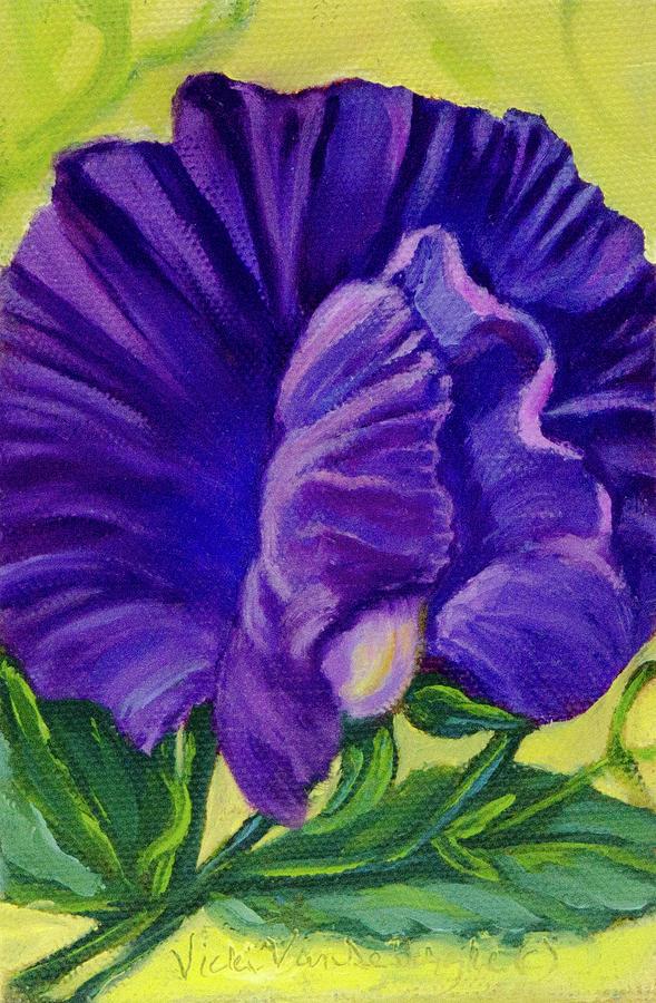 Sweet Pea Painting - Purple Sweet Pea by Vicki VanDeBerghe