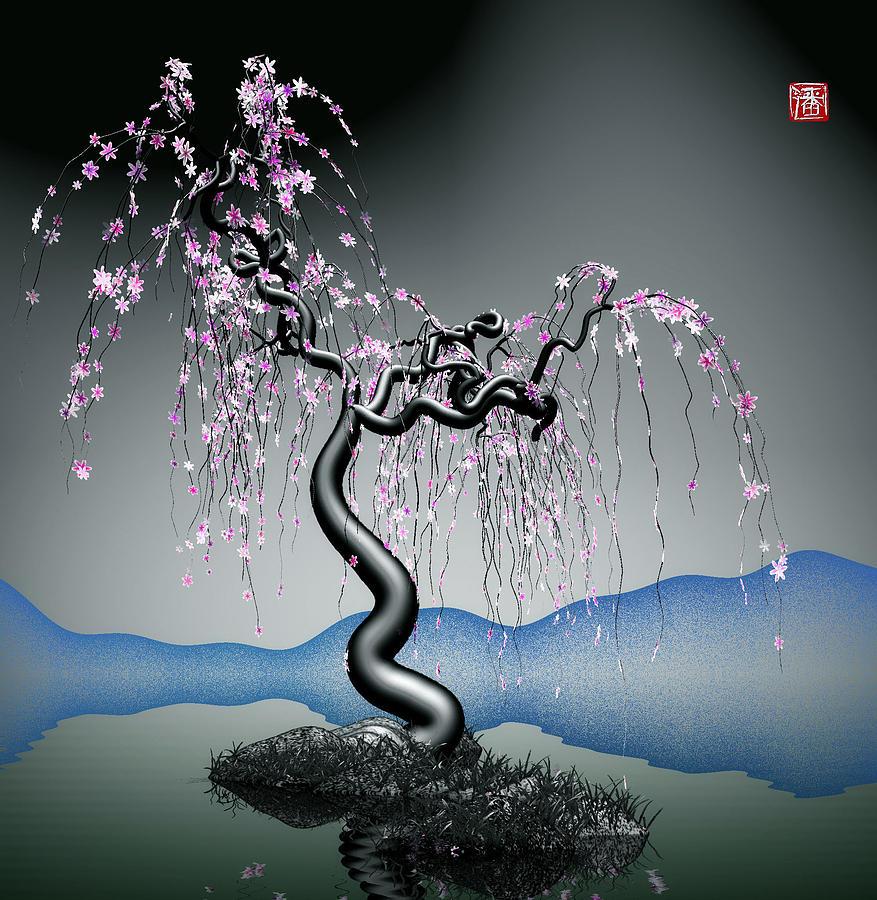 Tree Digital Art - Purple Tree In Water 2 by GuoJun Pan