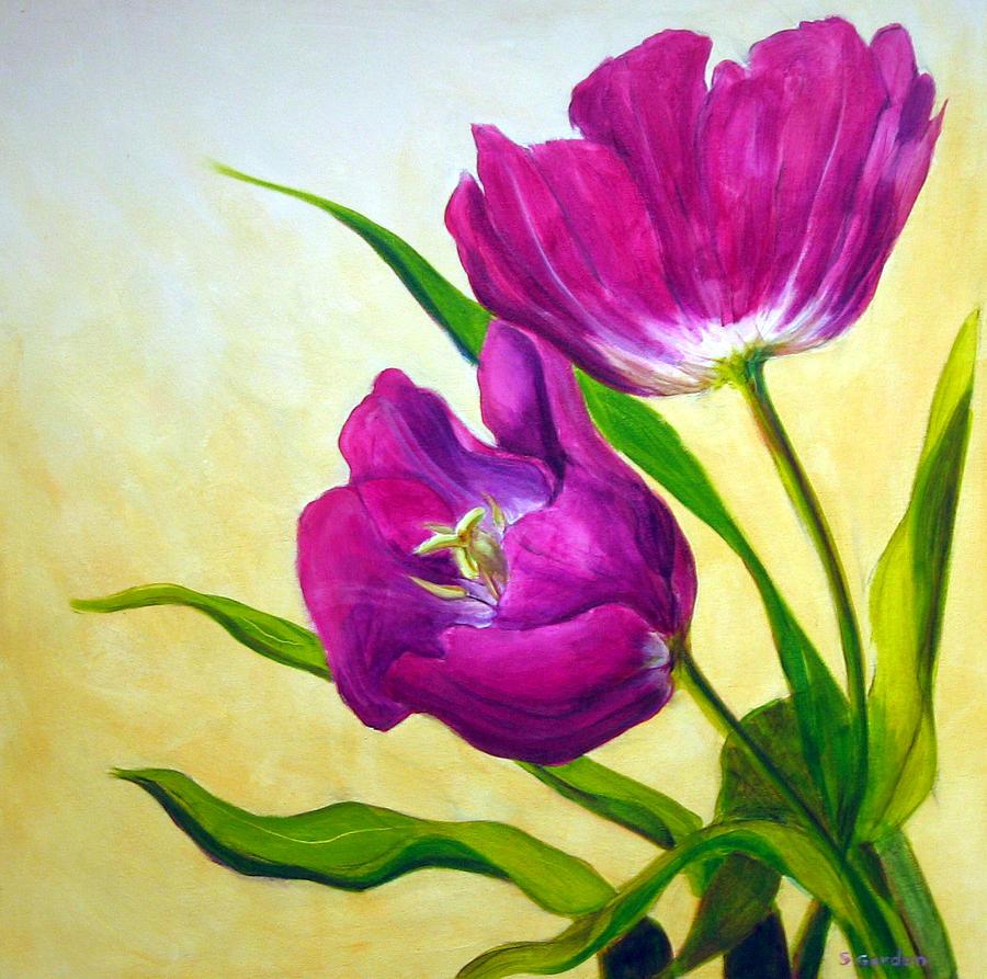 Tulip Painting - Purple Tulips by Scott Gordon