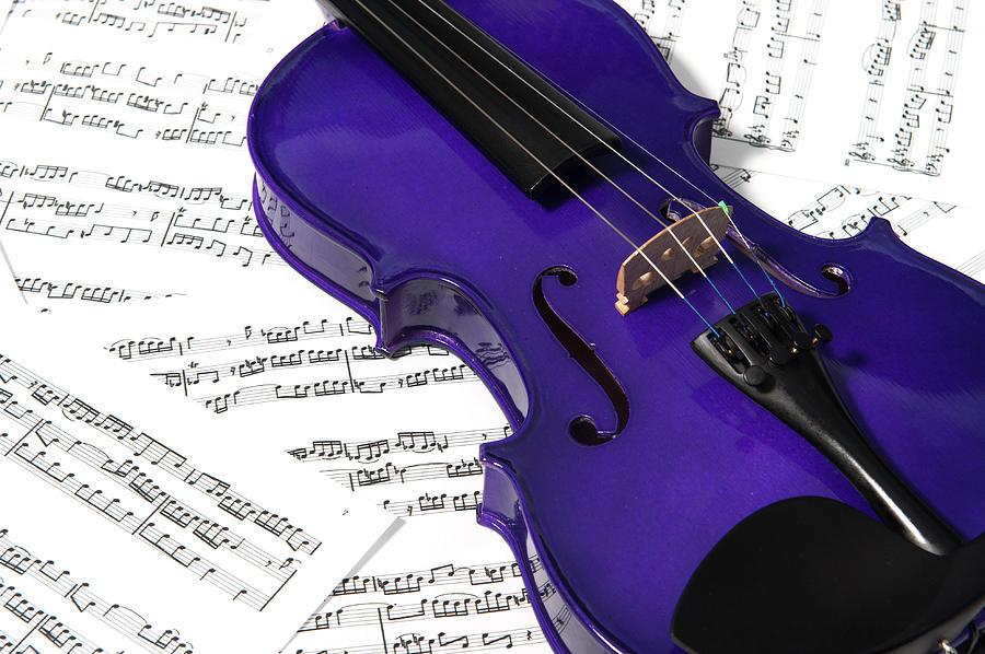 Purple Violin And Music II Photograph