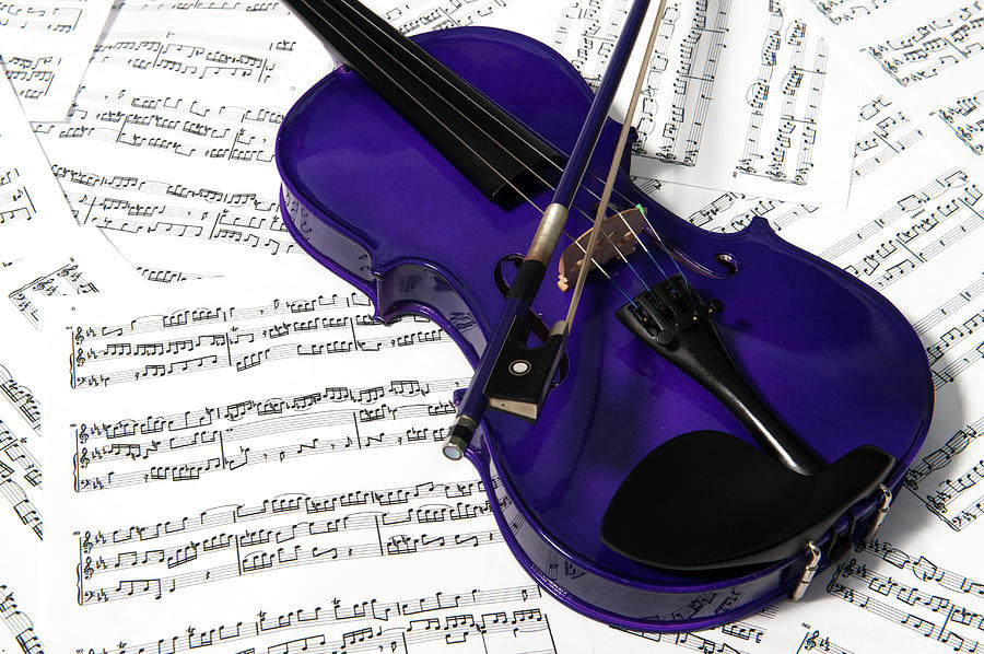 Purple Violin And Music Iv Photograph