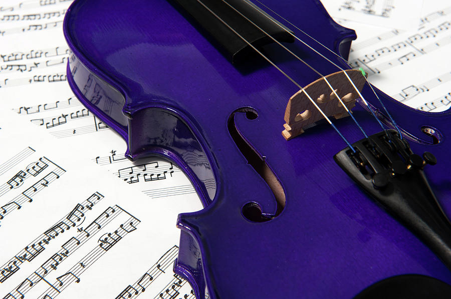 Violin Photograph - Purple Violin and Music vi by Helen Northcott