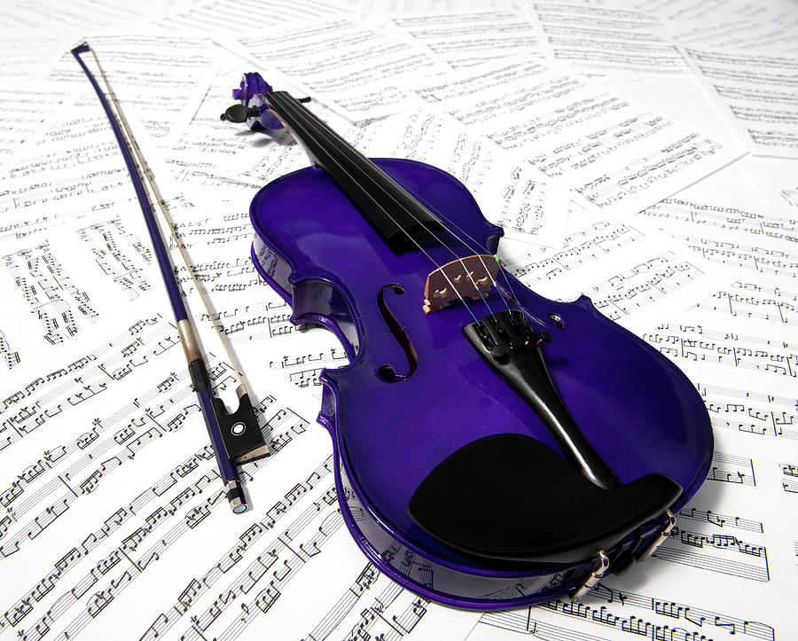 Purple Violin And Music Vii Photograph