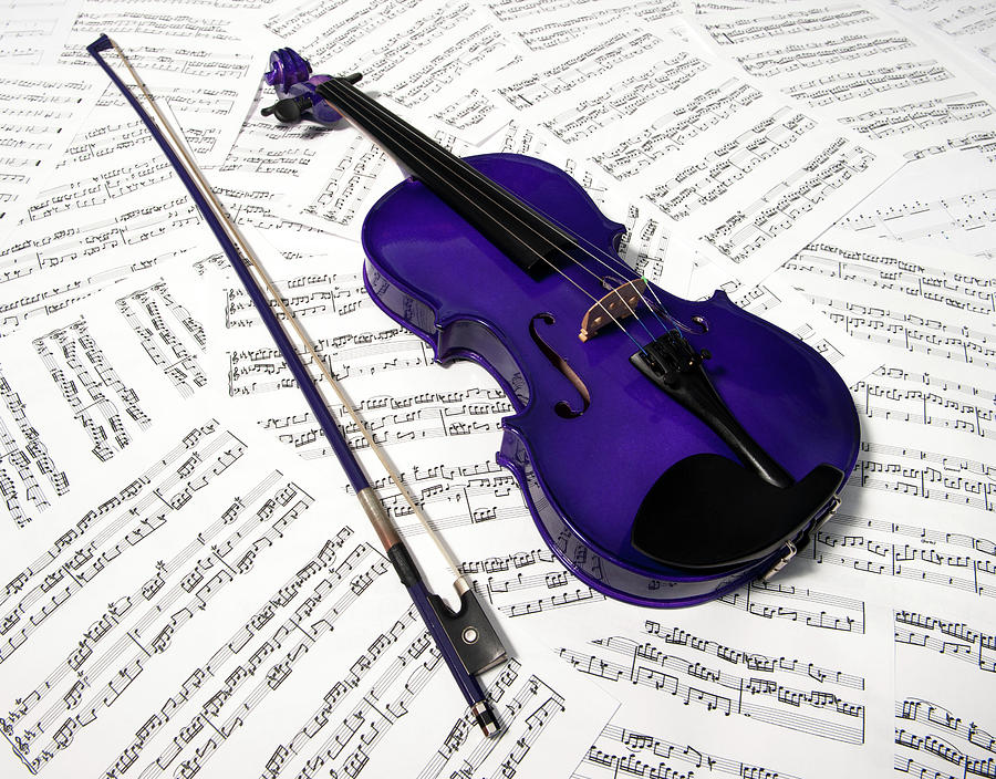 Purple Violin And Music Viii Photograph
