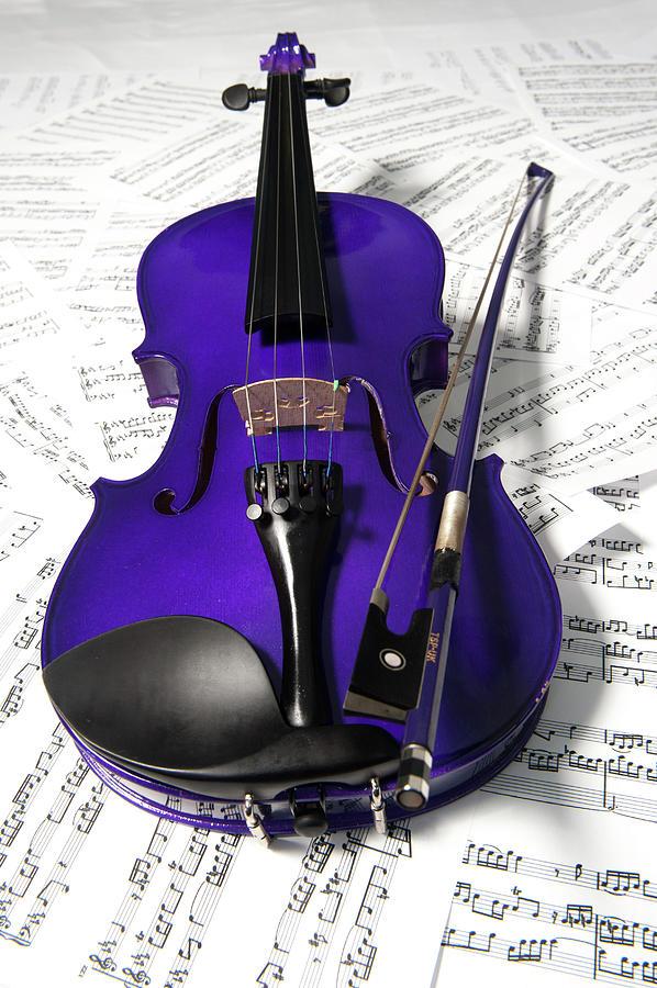 Purple Violin And Music X Photograph